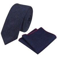 New Dark Navy Blue Skinny Tweed Wool Tie & Pocket Square Set. Great Reviews. UK.