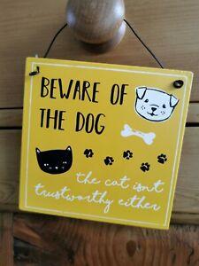 Dog/Cat Tin Metal hanging sign - Beware of the Dog