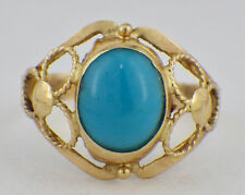 Estate 18K Yellow Gold Persian Turquoise Filigree Ring Size 7 3/4