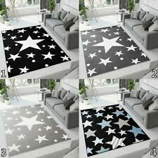 Small Extra Large Modern Area Rugs Grey Black Stars Pattern Durable Bedroom Rug