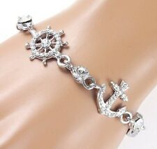 #B62A Women Anchor Wheel Bracelet Crystal Party Fashion Everyday New