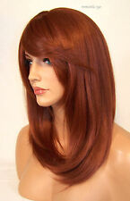 Large Cap Copper Red # 130 Full Wig Bangs Straight Razor Cut Skin Heat Safe Roma