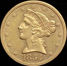 1854-P $5 Dollar Gold Half Eagle Liberty Head, Ungraded Beautiful Coin. See Pics