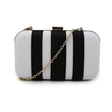Wedding Prom Party Metallic Gold Stripe Stripey Panel Clutch Evening Bag Handbag