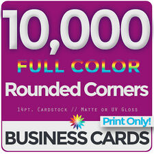 10,000 Full Color Business Cards Both Sides, ROUNDED- PRINT ONLY & FREE SHIPPING