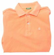 BENETTON Boys Polo Shirt 15-16 Years XL Orange Cotton  FF01
