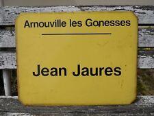 Plaque émaillée ancienne RATP de bus ,ville : Arnouville les Gonesses J.Jaures