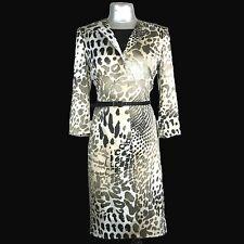 Albert Nipon Suit Dress Sheath Jacket Satin Black Gray Leopard Duster Belt 4 Sm