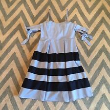 New ANTHROPOLOGIE Nantucket Blue Stripe Cold Shoulder Summer Party Dress LARGE