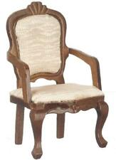 Dolls House Walnut Upholstered Carver Arm Chair Miniature Dining Room Furniture