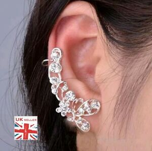 Pretty Silver Plated Flower Earring Over Ear Hook Cuff Crystal Ladies UK Seller