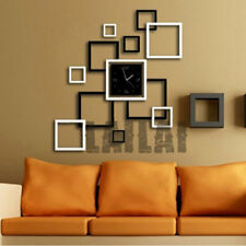 Modern Large DIY 3D Mirror Surface Wall Clock Sticker Home Office Room  Decor
