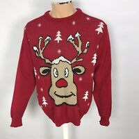 Mens Reindeer Large Red Christmas Xmas Jumper Funny Ugly Party L