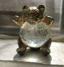Vintage Silvestri Golden Bear Swarovski Glass Prism Paperweight Made In Italy