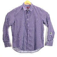 Robert Graham X Mens Size XL Purple and White Vertical Striped Button Up Shirt