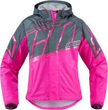*Fast Shipping* ICON PDX 2 Womens Waterproof Motorcycle Rain Jacket (Black/Pink)