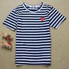 Men Women Stripe Dot Red Heart Short Sleeve T-Shirt Crew Neck Tee Cotton  Shirts