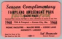 1968 FAIRYLAND AMUSEMENT PARK*KANSAS CITY MO*GATE PASS*TICKET*SAL BRANCATO MGR