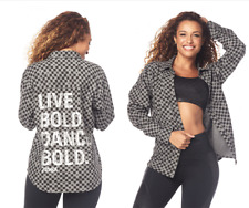 NWT Zumba Dance Bold Button-Up Shirt Flannel  - Heather Grey - XS