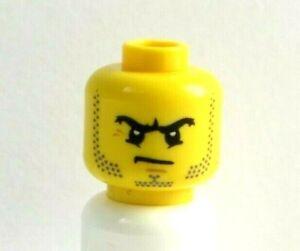Lego 1 X  Yellow  Head  For Man Male  Minifigure Figure Beard Stubble Angry