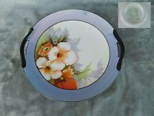 Noritake Blue Luster CAKE PLATE Hand Painted Flowers Double Handles