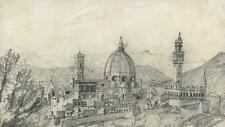 FLORENCE LANDSCAPE ITALY Pencil Drawing c1830 - 19TH CENTURY - GRAND TOUR