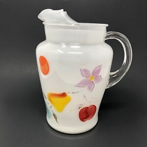 Bartlett Collins Gay Fad Pitcher Frosted White Fruit Pattern