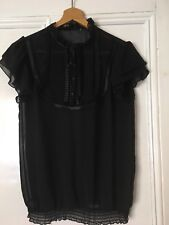 Black Transparent Top Short Sleeves Victorian Style Ruffle Neck Small