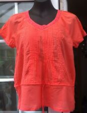 PAPAYA CORAL CAP SLEEVED LACY V NECK COTTON TOP - SIZE 14