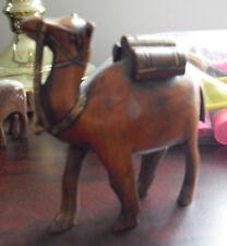 "Unique Primitive Vintage Carved Wood Camel Figurine 4 1/8"" Tall Look"