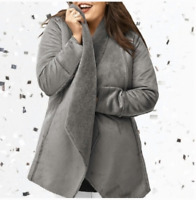 Lane Bryant Womens Faux Suede Shearling Jacket 14/16 Long Coat Open Front Grey