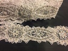 2 Inch Wedding-bridal Trim Beaded With Rhinestones And Gold/silver Beads-by Yard