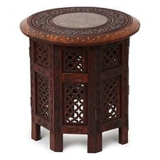 Wooden Rosewood Table with Intricate Handmade Brass Inlay Work on Top