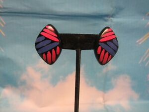 Post Earrings Black with Pink and Blue Stripes