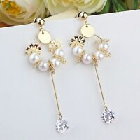 18k yellow gold gp 925 silver pearl crystal snowflake stick stud dangle earrings
