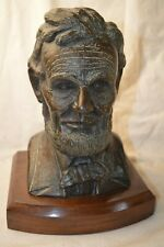 H.H ROBINSON SIGNED ABRAHAM ABE LINCOLN SOLID BRONZE BUST HEAD UNION IS SAVED