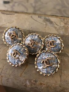 Chanel CC tweed blue large  buttons.Set of 5.22 mm