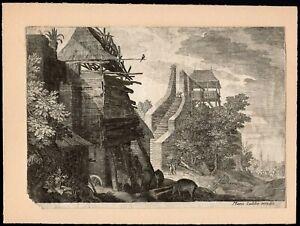 Stampa - Paesaggio fiammingo, Marco Sadeler - 20,5x14,5 cm