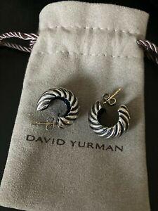 David Yurman Sterling w 14K post Cable Huggie Hoop Shrimp Earrings