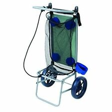 Beach Cart For Sand Big Wheels Folding Table Towel Storage Cup Holder Wagon Blue