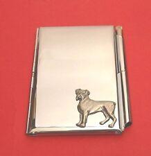 Boxer Dog Motif on Chrome Notebook / Card Holder & Pen Christmas Gift