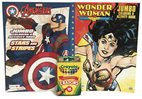 2 Kids DC Wonder Woman & Marvel Captain America Coloring Activity Book Crayons