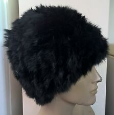 jet black real genuine rabbit fur wool knitted hat head warmer unisex