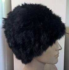 jet black real genuine rabbit fur wool knitted hat head warmer unisex