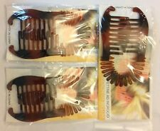 3 Sets of Banana Hair Clip Clincher Claw Holder Combs With Spring Tortoise