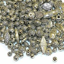 MB79910 Assorted Shape & Size 4mm - 22mm Mixed Silver Finish Metal Beads 100pc