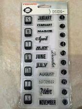 Clear Acrylic Stamp Set by Fiskars Dates Calendar Teresa Collins 104040-1001 NEW
