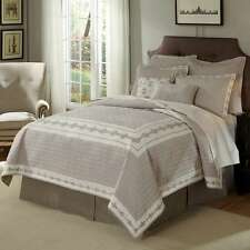 Nostalgia Veranda Twin Quilt Grey Cream Embroidered