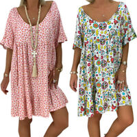 Plus Size Women's Boho Short Sleeve Mini Dress Loose Tunic T Shirt Blouse Tops