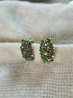 Gorgeous Vintage Green & Blue Rhinestone Clip-on Earrings Japan DH